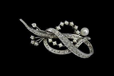 Broche Perlas Diamantes
